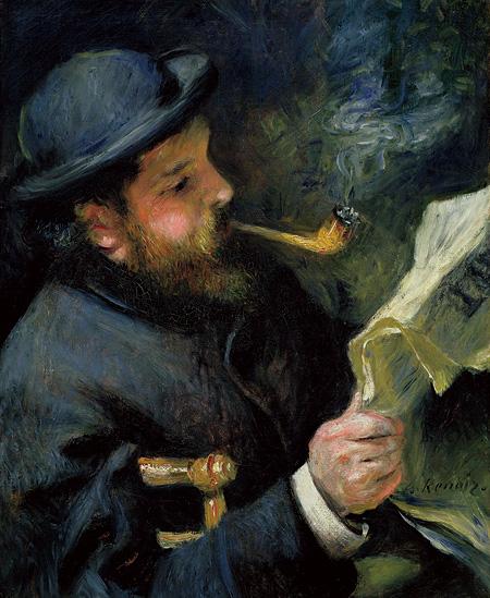 ピエール=オーギュスト・ルノワール『新聞を読むクロード・モネ』1873年 油彩、カンヴァス 61.7x50cm Musée Marmottan Monet, Paris ©Bridgeman-Giraudon