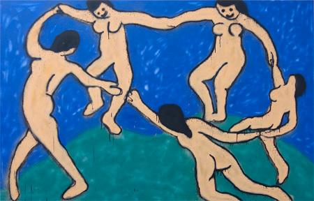 『Dance (III)』 2015 / acrylic, aerosol on canvas, 107.5 x 164 x 4.5 cm