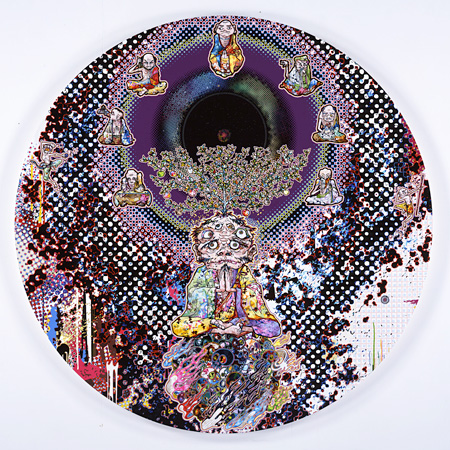 村上隆『賢者』2014年 Acrylic, gold and platinum leaf on canvas mounted on wood panel, 200×200 centimeters, Courtesy of the artist and Blum & Poe ©2015 Takashi Murakami/Kaikai Kiki Co., Ltd. All Rights Reserved