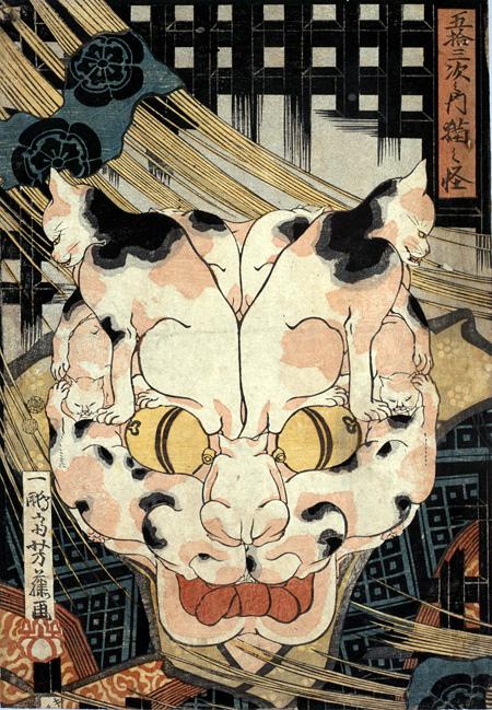 歌川芳藤『五拾三次之内猫之怪』1848-1849年 公文教育研究会蔵