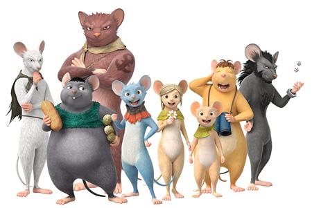 『GAMBA ガンバと仲間たち』より左からガクシャ、マンプク、ヨイショ、ガンバ、潮路、忠太、ボーボ、イカサマ ©SHIROGUMI INC., GAMBA