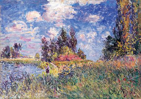 『サン・マメスのロワン河畔の風景』1881年 油彩、カンヴァス 鹿児島市立美術館