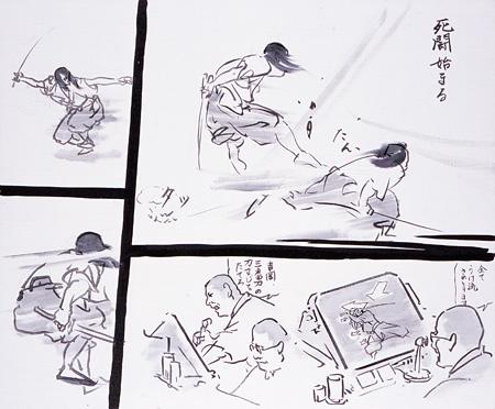 『続・無残ノ介』2007 カンヴァスに油彩、水彩、墨、ペン 可変 撮影:宮島径 ©YAMAGUCHI Akira, Courtesy Mizuma Art Gallery