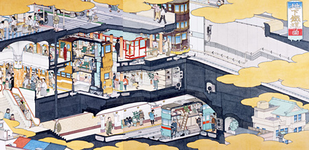 『地下鐵道乃圖』2007 紙にペン、水彩 45.6x93.7cm 撮影:宮島径 ©YAMAGUCHI Akira, Courtesy Mizuma Art Gallery