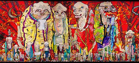 村上隆『五百羅漢図』(部分)2012年 アクリル、キャンバス、板にマウント 302×10,000cm 個人蔵 ©2012 Takashi Murakami / Kaikai Kiki Co., Ltd. All Rights Reserved.