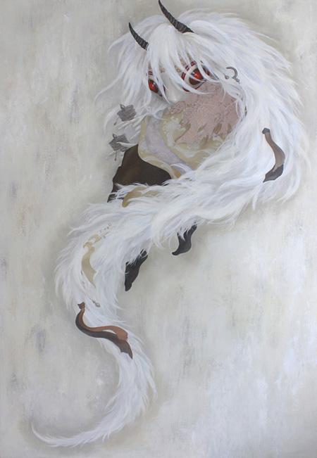 宮間夕子『月日のはじまりと』2014 194×112cm 油彩、パネル
