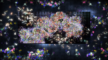 『Flutter of Butterflies beyond Borders / 境界のない群蝶』teamLab, 2015, Interactive Digital Work, Endless