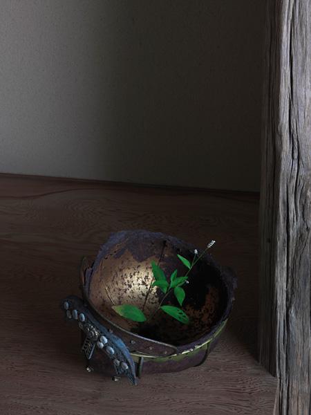 『阿古陀形兜』鎌倉時代、『夏草』2015年 須田悦弘 撮影:杉本博司