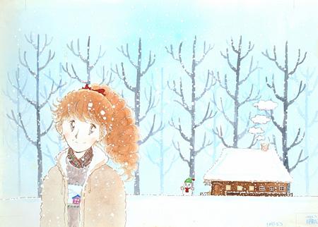 陸奥A子/画『粉雪ポルカ』 『りぼん』1981年1月号ふろく 原画 北九州市漫画ミュージアム/寄託(展示期間/後期)