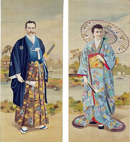 『和装西洋男女図』絹本彩色 19世紀末(明治前期) 江戸東京博物館蔵