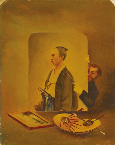 横山松三郎『丁髷の男と外国人』写真油絵・コラージュ 1882年(明治15)頃 個人蔵