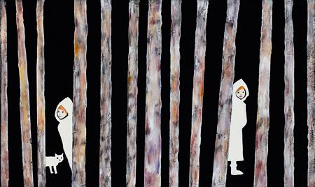 田中千智『かくれんぼ』 2014年 油彩、アクリル、キャンバス 27.3×45.5cm