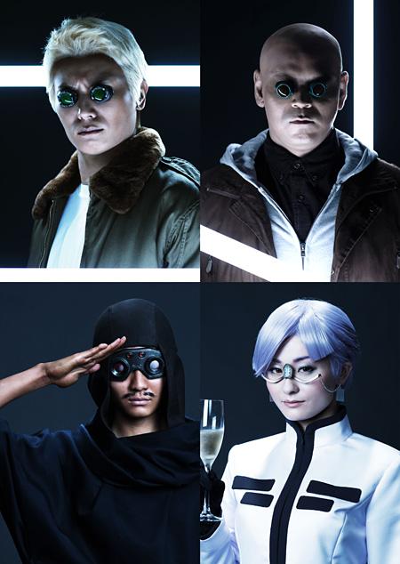 左上から時計回りに、八神蓮が演じるバトー、松崎裕が演じるボーマ、吉川麻美が演じるサイード、高崎俊吾が演じるイバチ