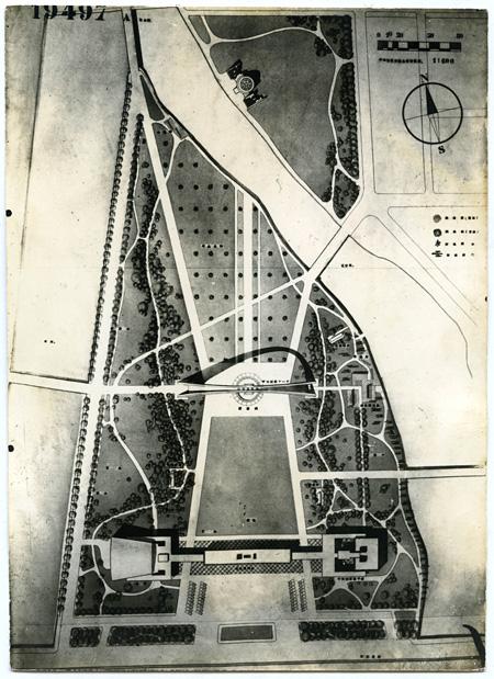 丹下健三『平和記念公園平面図』写真 1949 Courtesy of Hiroshima Municipal Archives
