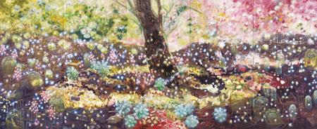 大岩オスカール『フラワー・ガーデン』(中央)、『フラワー・ガーデン』(左・右)2004 ©Oscar Oiwa, Courtesy of Museum of Contemporary Art Tokyo