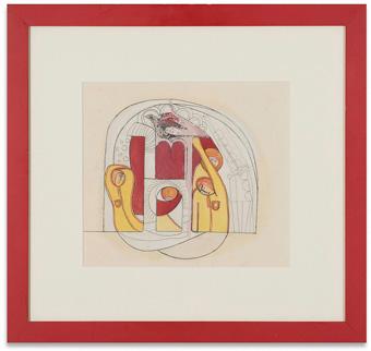 Lot.197 ザ・ビートルズ『Art of Tokyo』1966年 アクリル、水彩、ペン、鉛筆、紙 27.2×32.1cm エスティメート:10,000,000 - 15,000,000円