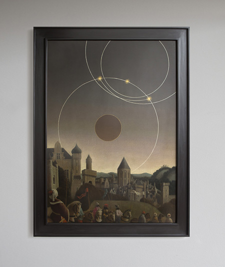 Studies into the Past, Oil on wood panel, 120×90cm, Courtesy : Edouard Malingue Gallery, Hong Kong. ©Laurent Grasso / ADAGP, Paris