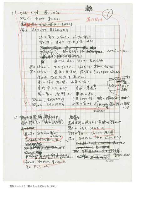創作ノートより「鶴になった父ちゃん[草稿]」(『KAWADE夢ムック 文藝別冊「長渕剛 民衆の怒りと祈りの歌」』169ページ)