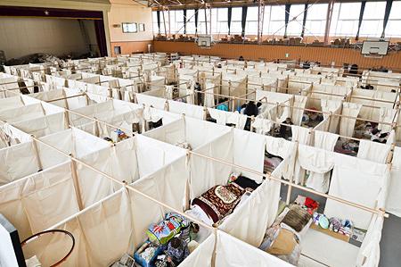 避難所用 紙の簡易間仕切りシステム4 2011年 ©Voluntary Architects' Network