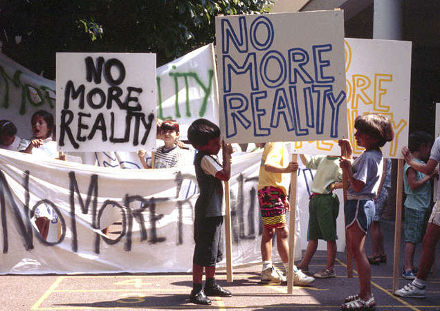 Philippe Parreno No More Reality, La Manifestation, 1991 Film still ©The artist