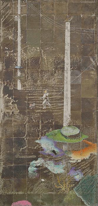 『FACE2013』グランプリ 堤康将『嘯く』2012年 岩絵具・銀箔・麻紙 194.1×92.2cm