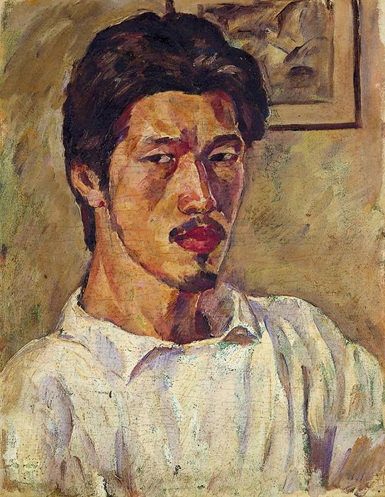 『自画像(ブルーズ)』1919頃、油彩・キャンバス、東京都現代美術館
