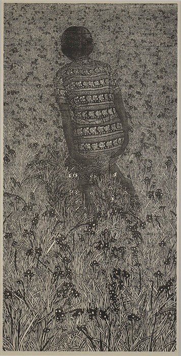 グランプリ 遠藤美香『水仙』2015年 木版画