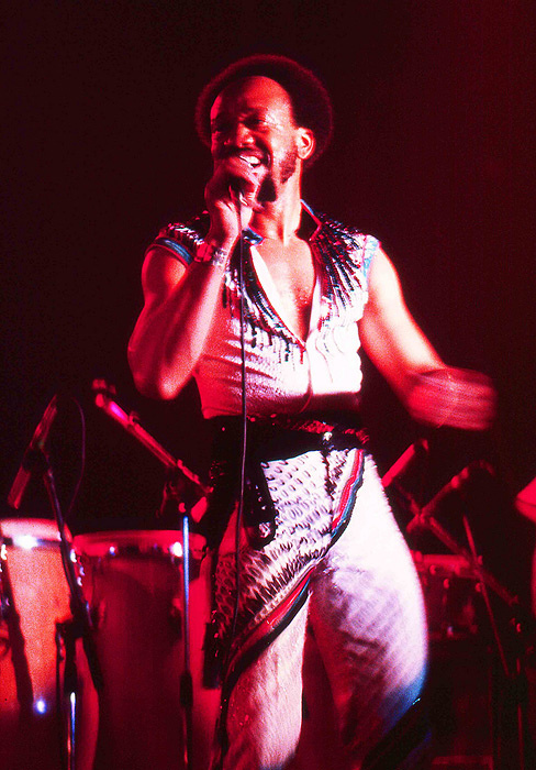 Maurice White performing in 1982, with Earth, Wind, and Fire at the Ahoy Rotterdam, The Netherlands.