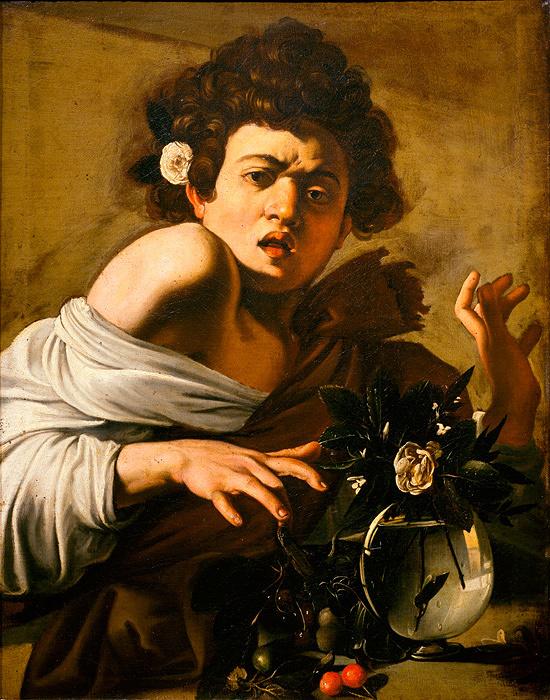カラヴァッジョ『トカゲに噛まれる少年』1596-97 年頃、油彩/カンヴァス、65.8×52.3cm、フィレンツェ、ロベルト・ロンギ美術史財団 Firenze, Fondazione di Studi di Storia dell'Arte Roberto Longhi