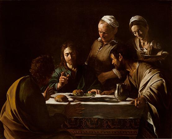 カラヴァッジョ『エマオの晩餐』1606 年、油彩/カンヴァス、141×175 cm、ミラノ、ブレラ絵画館 Photo courtesy of Pinacoteca di Brera, Milan