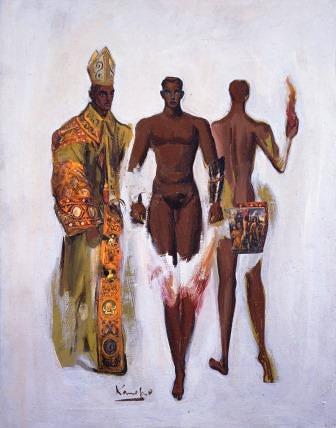 『聖なる儀式』油彩 41×31.8cm 1990年