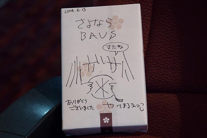 2014年6月13日のバウスシアターでの相対性理論の楽曲制作終了後、やくしまるえつこがバウスシアターに贈ったメッセージ