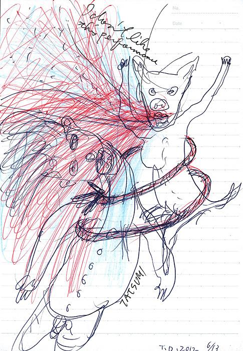 アニマル・アート ドローイング『子ブタを背負う』茨城県下妻市 2012年