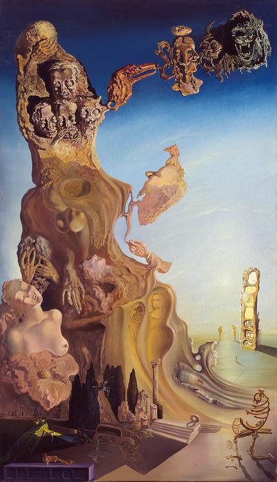 サルバドール・ダリ『子ども、女への壮大な記念碑』 1929年 140.0×81.0cm、カンヴァスに油彩、コラージュ 国立ソフィア王妃芸術センター蔵 Collection of the Museo Nacional Centro de Arte Reina Sofía, Madrid © Salvador Dalí, Fundació Gala-Salvador Dalí, JASPAR, Japan, 2016.