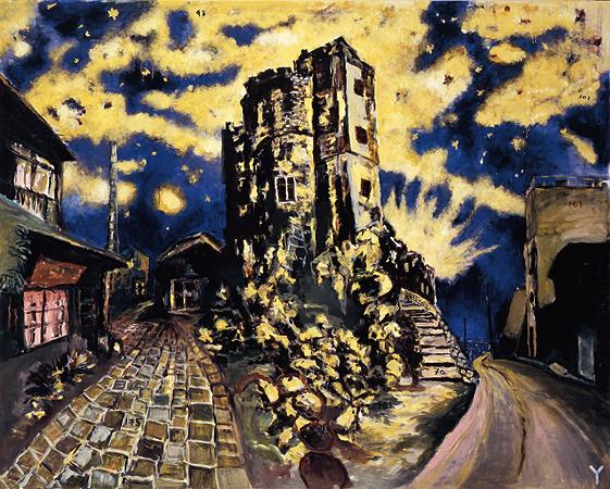 横尾忠則『DNF:暗夜光路 眠れない街』 2001年/カンヴァスにアクリル絵具/182×227.5cm