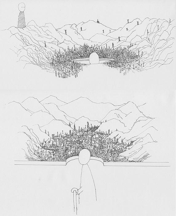 『アウト・オブ・ディスオーダー(工業地帯モデル)』のためのドローイング 2016年 Drawing for Out of Disorder 2016 ©Takahiro Iwasaki, Courtesy of ARATANIURANO