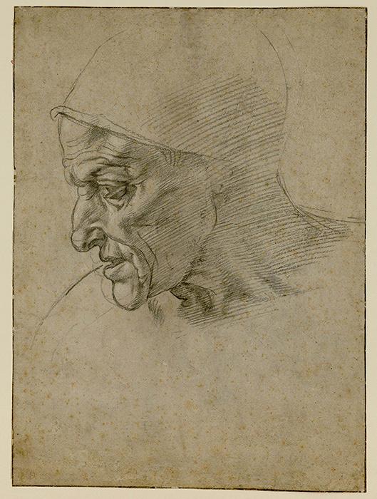 ミケランジェロ・ブオナローティ『システィーナ礼拝堂天井画〈クマエの巫女〉のための頭部習作』1508-1510年、トリノ王立図書館蔵 ©Torino, Biblioteca Reale