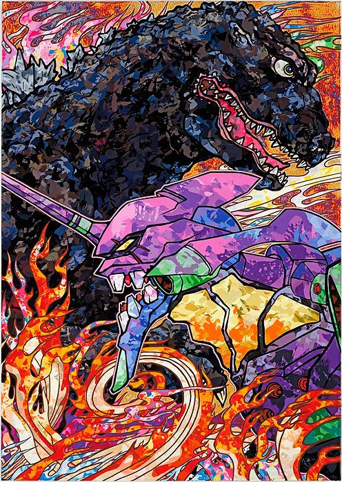 村上隆による『ゴジラ対エヴァンゲリオン』ビジュアル ©2016 Takashi Murakami/Kaikai Kiki Co., Ltd. TM&©TOHO CO.,LTD. ©カラー