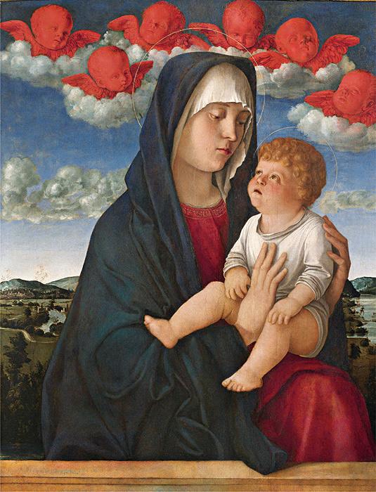 ジョヴァンニ・ベッリーニ『聖母子(赤い智天使の聖母)』 油彩、板 アカデミア美術館