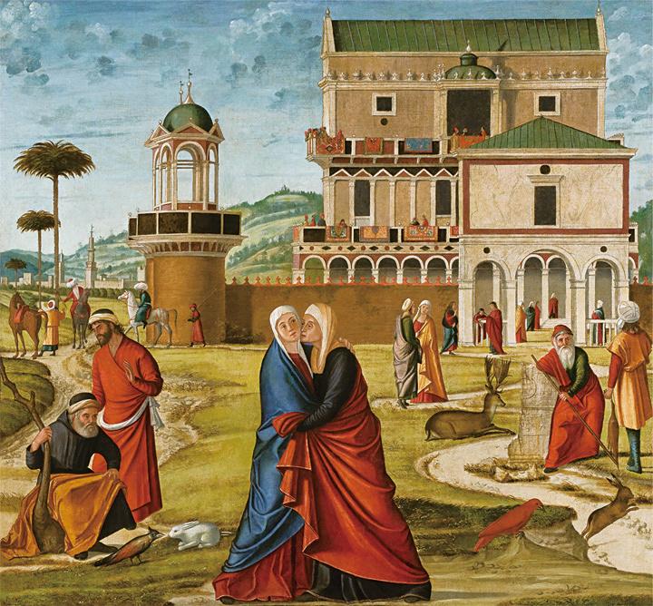 ヴィットーレ・カルパッチョ『聖母マリアのエリサベト訪問』 油彩、カンヴァス ヴェネチア、ジョルジョ・フランケッティ美術館(カ・ドーロ)