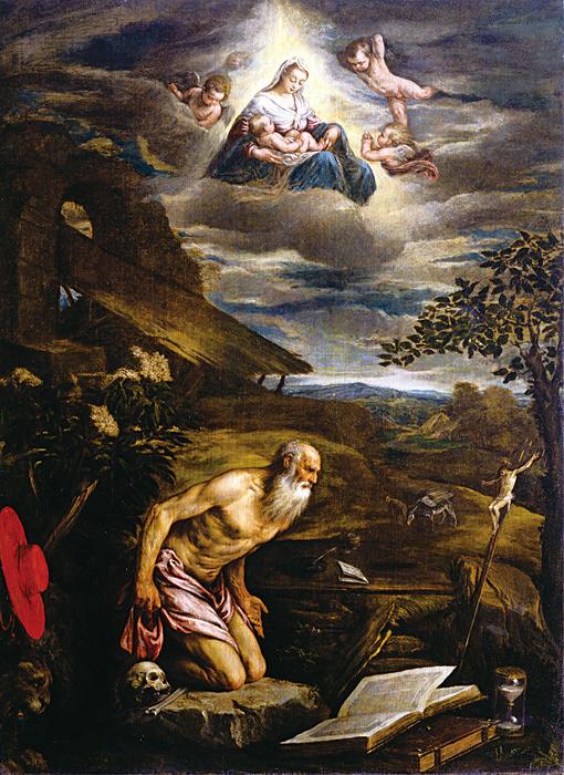ヤコポ・バッサーノ(本名ヤコポ・ダル・ポンテ)『悔悛する聖ヒエロニムスと天上に顕れる聖母子』 油彩、カンヴァス アカデミア美術館