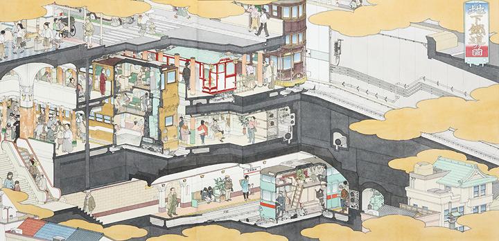 山口晃『地下鉄道之図』