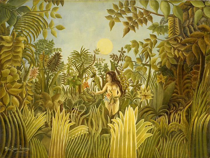 アンリ・ルソー『エデンの園のエヴァ』1906-1910年頃 油彩/カンヴァス ポーラ美術館蔵