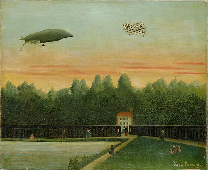 アンリ・ルソー『飛行船「レピュブリック号」とライト飛行機のある風景』1909年 油彩/カンヴァス ポーラ美術館蔵