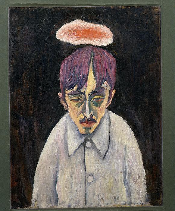 萬鉄五郎『雲のある自画像』1912-1913年 岩手県立美術館蔵