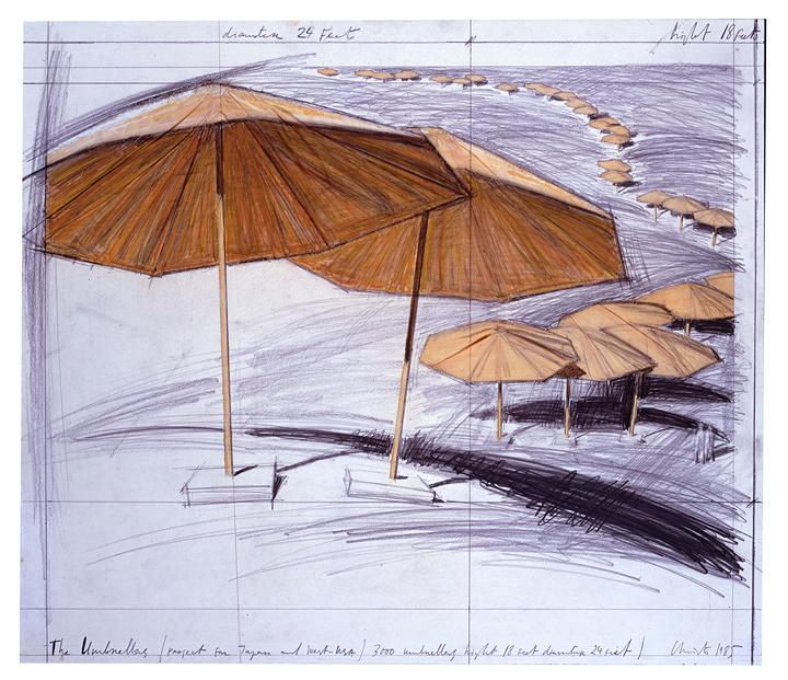 『アンブレラ 6-8マイル、3000本の傘のプロジェクト』1985年 ドローイング ©Christo, 1985 Photo: Eeva-Inkeri