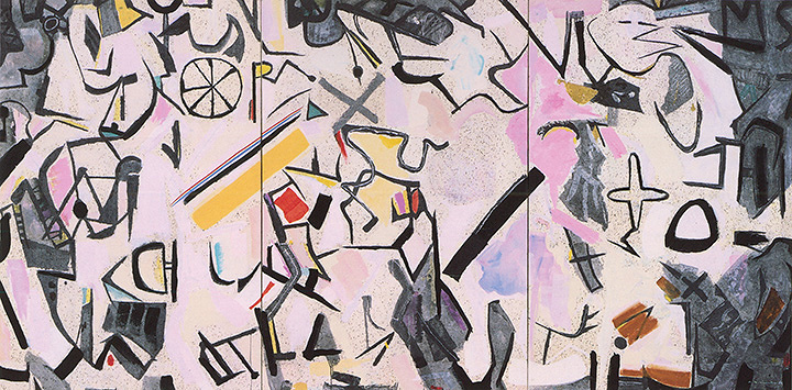 若松光一郎『Composition 30.8.82』1983年 墨、カゼイン、和紙 194×390cm(3点組)