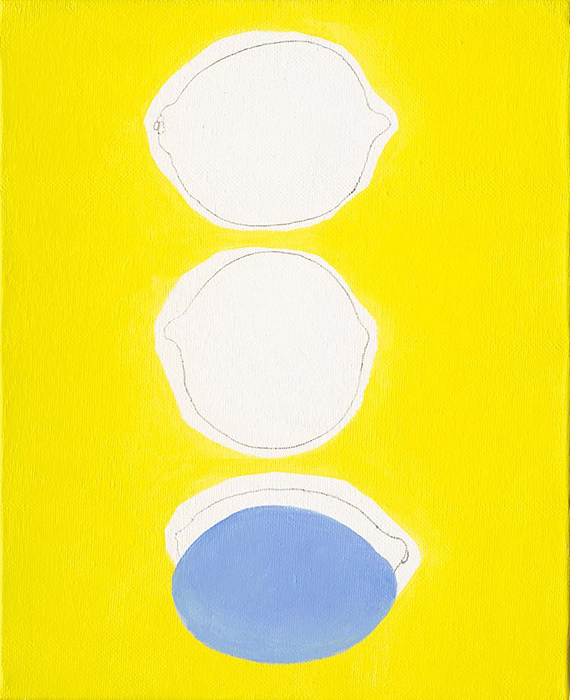 ヘ・シャンユ『Three Lemons』2016 Pencil, acrylic on canvas 22×27cm