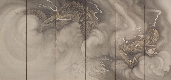 重要文化財『雲龍図屏風(左隻)』円山応挙筆 日本・江戸時代 安永2年(1773) 個人蔵 後期展示