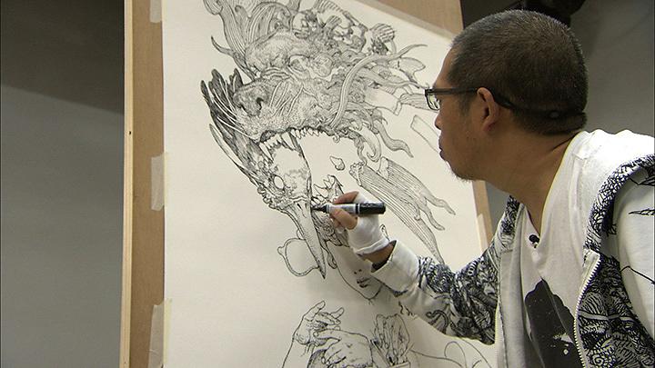 ダリのオマージュを描く寺田克也 『日曜美術館「ダリの正体!?」』より